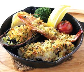 瀬戸内魚介の香草パン粉焼き